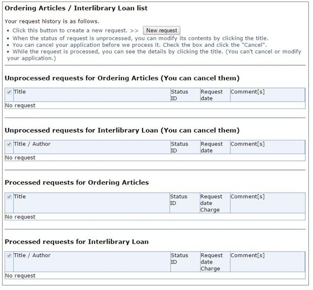 Ordering Articles Interlibrary Loan list